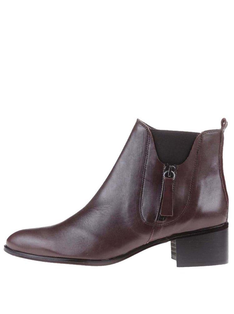 Hnědé kožené kotníkové boty OJJU