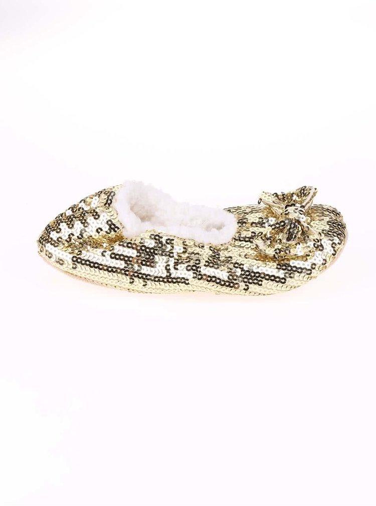 Papuci de casă aurii cu paiete Something Special by Moon