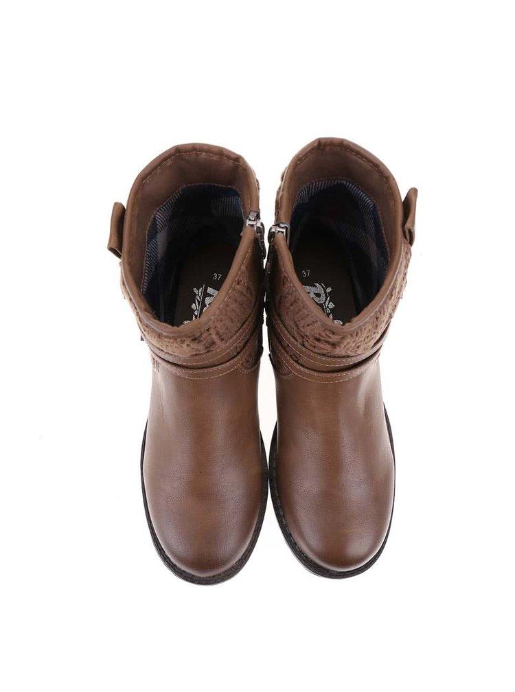 Hnědé kotníkové boty s páskem Refresh