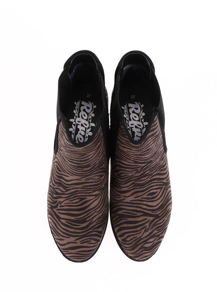 Ghete Chelsea cu imprimeu zebra Refresh - maro
