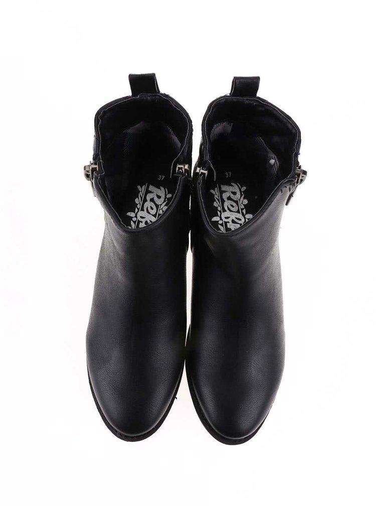 Černé kotníkové boty s ozdobným zipem Refresh