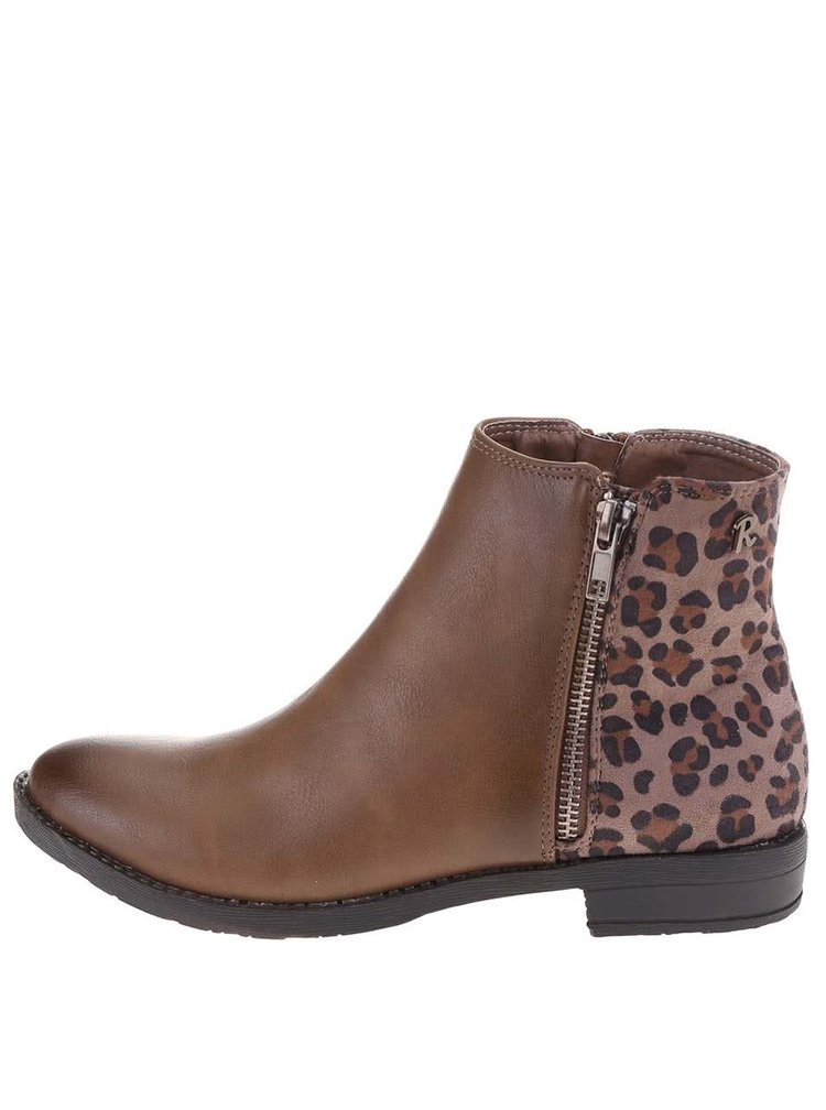 Hnědé kotníkové boty s leopardím vzorem Refresh