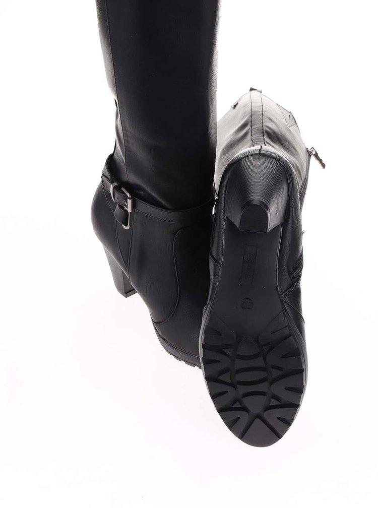 Čierne čižmy na podpätku Refresh