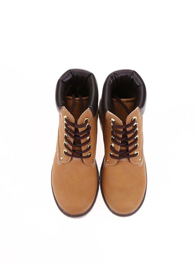 Hnědé kotníkové šněrovací boty Xti