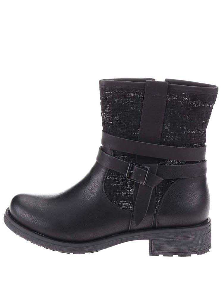Čierne vyššie topánky s flitrami Xti