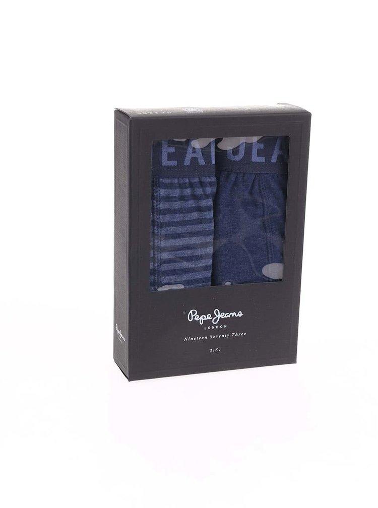 Kolekcia dvoch modrých boxeriek Pepe Jeans Dillon