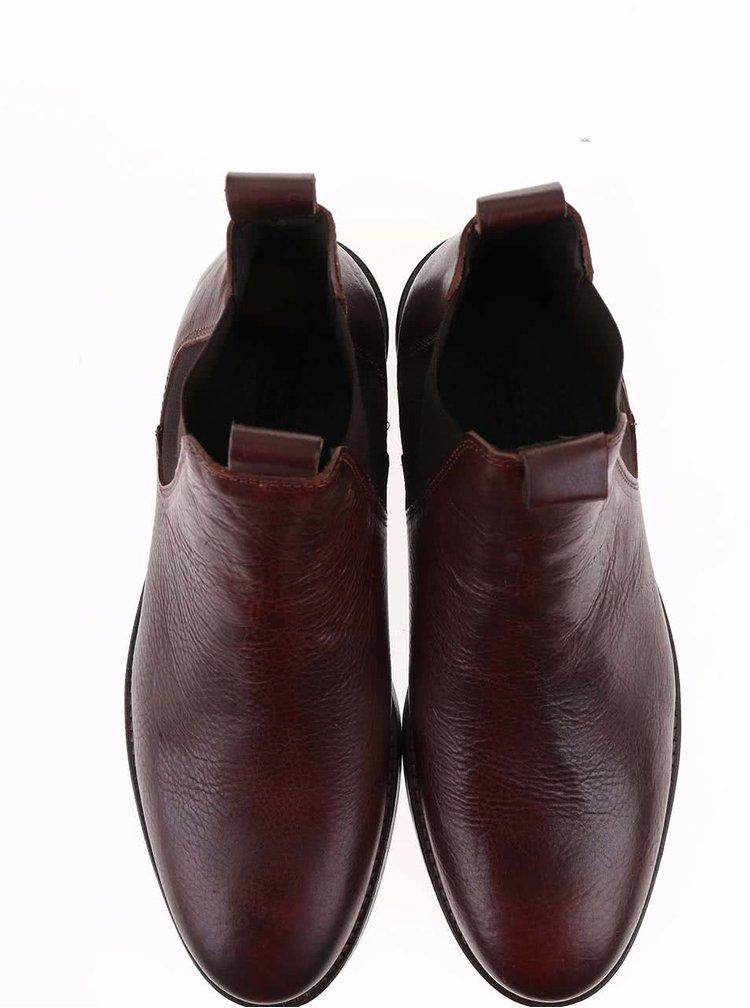 Hnědé kožené chelsea boty Selected Homme