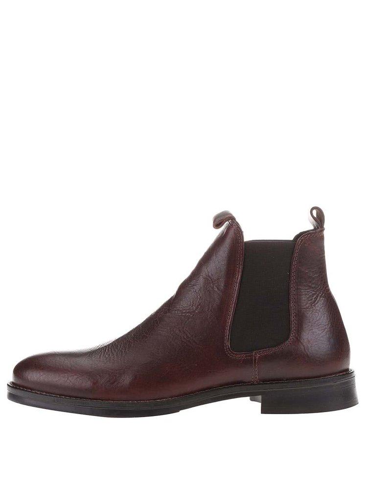 Hnedé kožené chelsea topánky Selected Homme