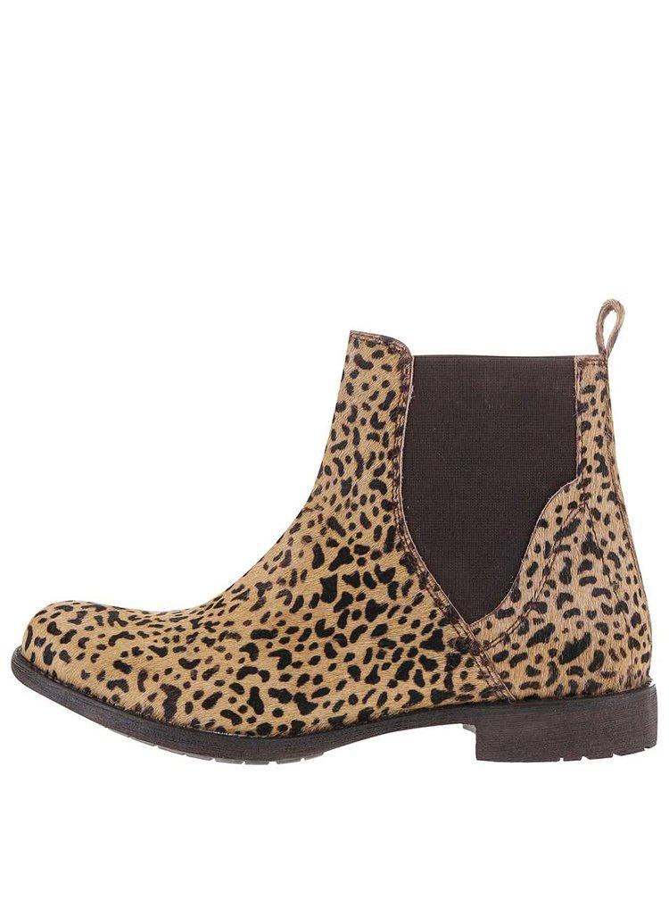 Hnedo-béžové dámske kožené členkové topánky Bullboxer