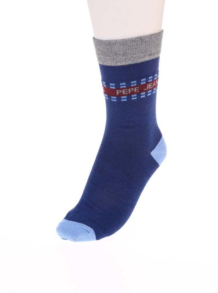 Set de cinci perechi de șosete - vișiniu cu albastru Pepe Jeans Romford
