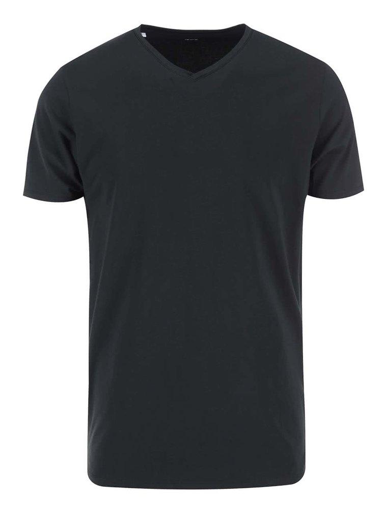 Čierne tričko s véčkovým výstrihom Selected Pima