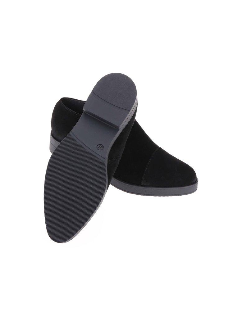 Čierne kožené poltopánky Pieces Ava