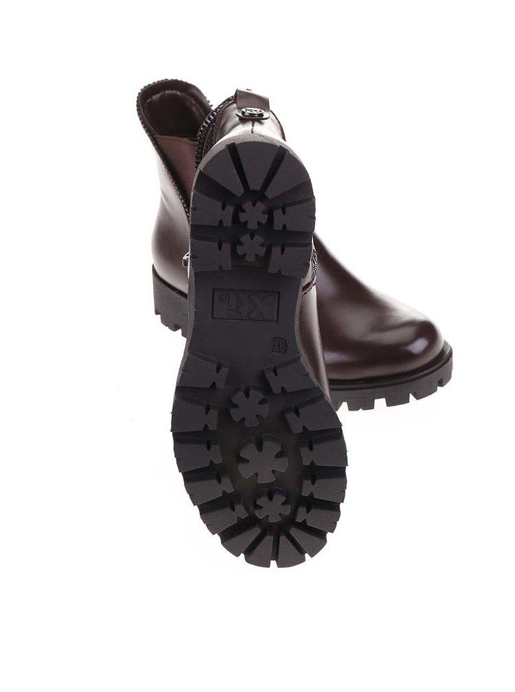 Tmavohnedé členkové topánky s ozdobným zipsom Xti