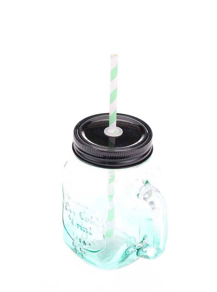 Zelený ombré sklenený hrnček so slamkou Helio Ferretti