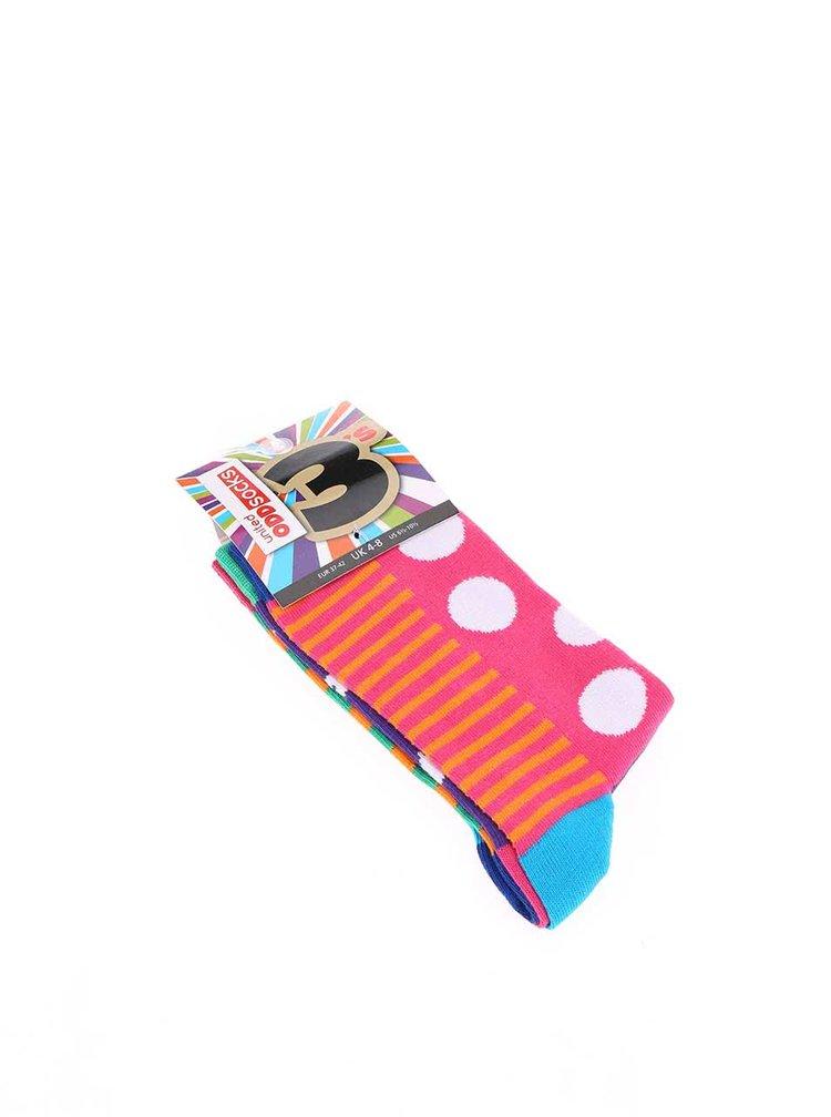 Sada tří barevných dámských ponožek Oddsocks Chloe