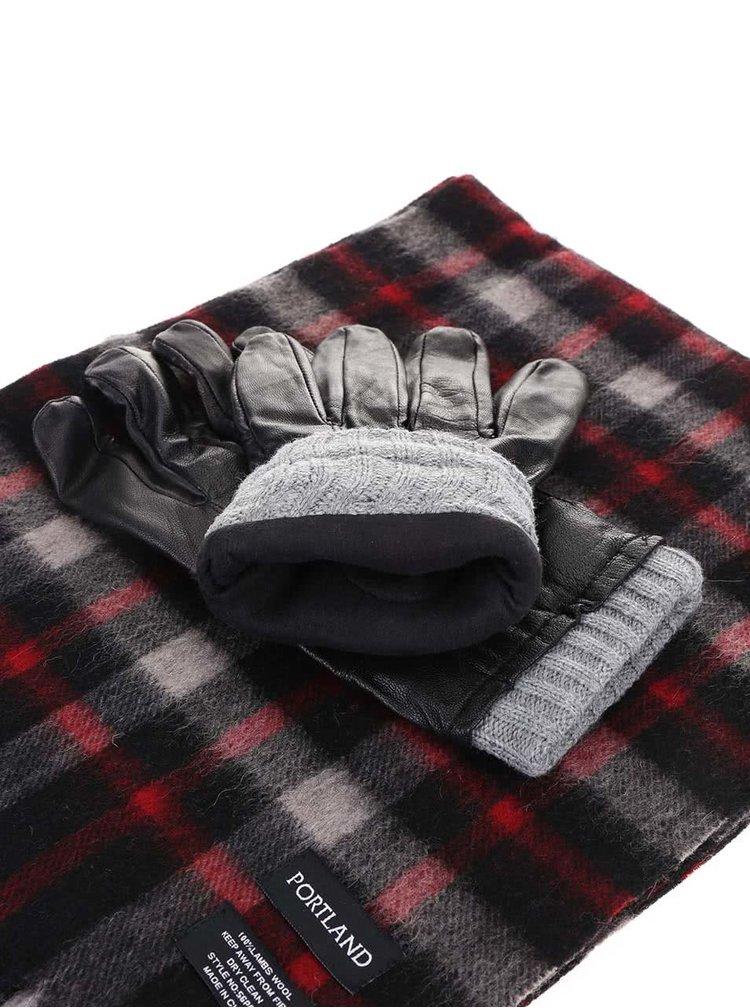 Pachet cadou cu mănuși negre din piele și fular gri de la Portland