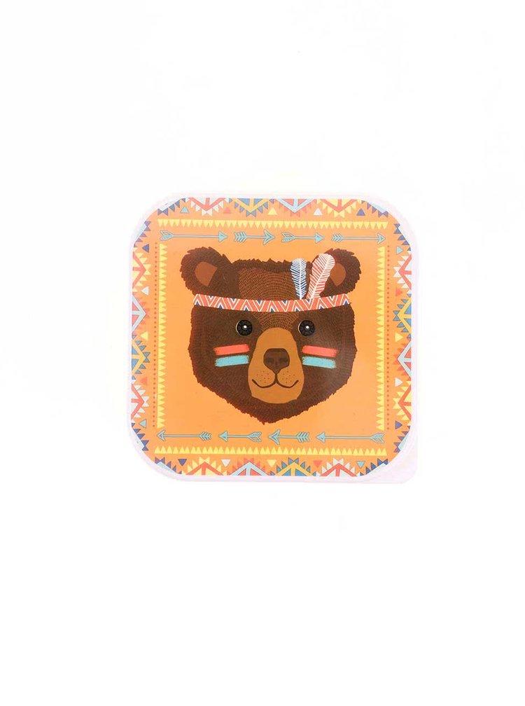 Žltý desiatový box s medveďom Sass & Belle Bear Tribal