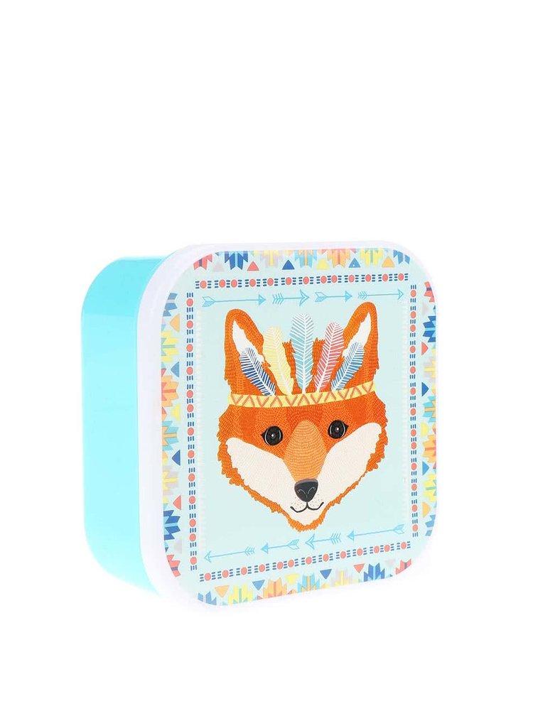 Tyrkysový svačinový box s liškou Sass & Belle Fox Tribal