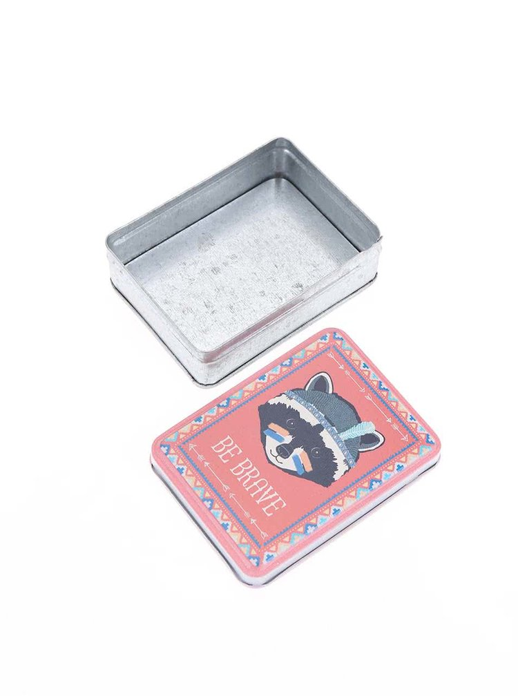 Cutie de metal cu ratoni Sass & Belle Racoon - Roz
