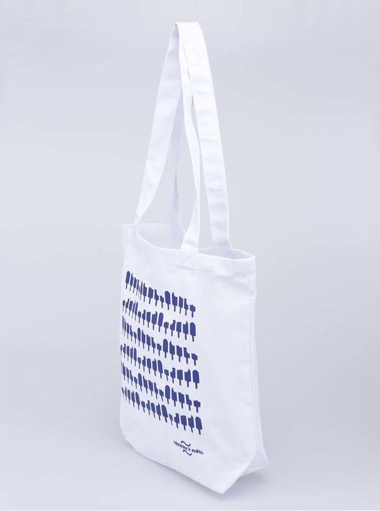 """""""Dobrá"""" biela plátená taška s potlačou Náplavka k světu"""