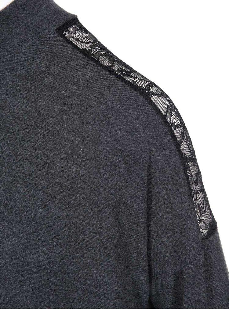 Tmavosivý voľnejší sveter s detailom čipky ONLY June