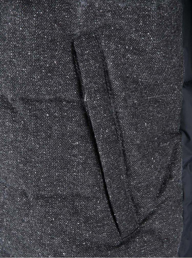 Tmavosivá bunda s modrými rukávmi Jack & Jones Sid
