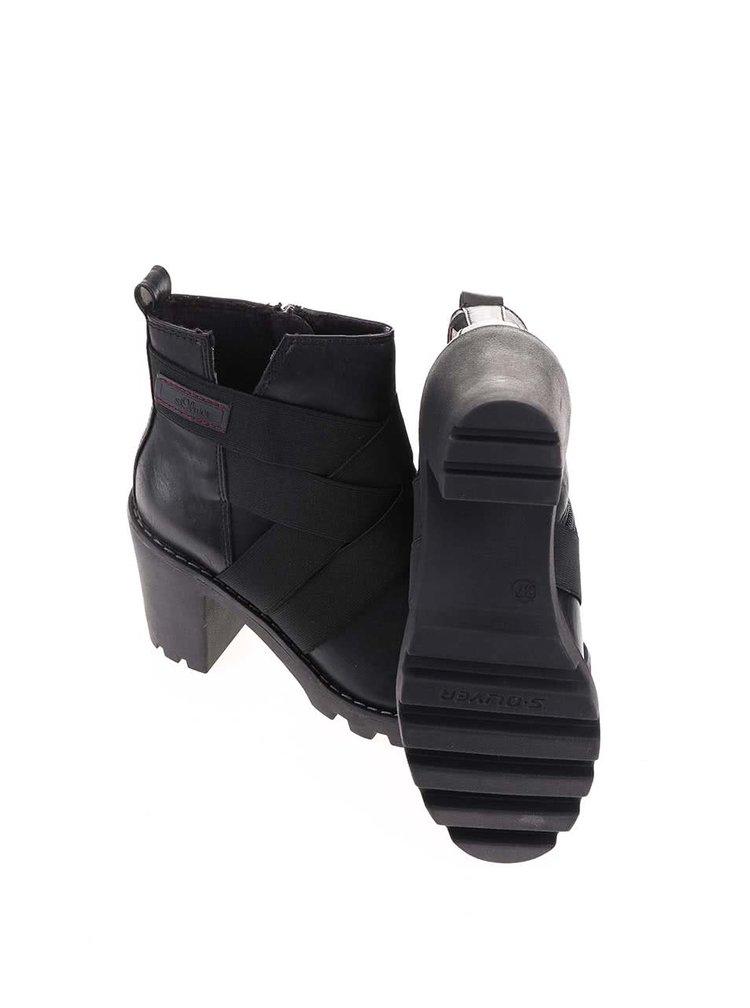 Černé dámské vyšší kotníkové boty na podpatku s.Oliver