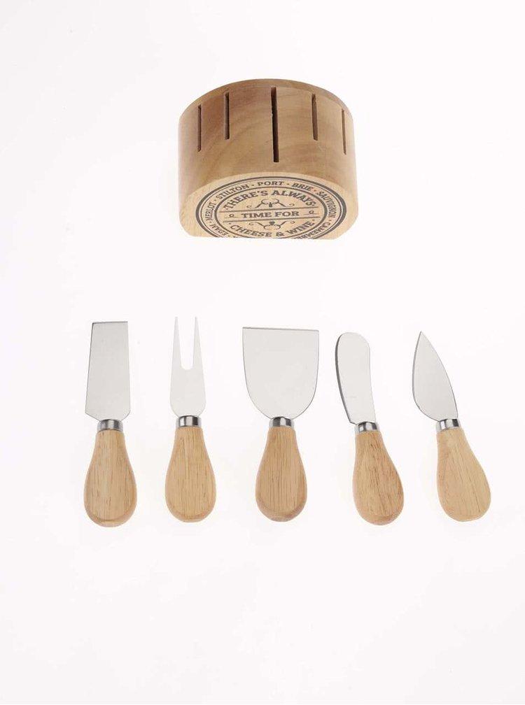 Súprava nožov na syry v drevenom stojančeku CGB