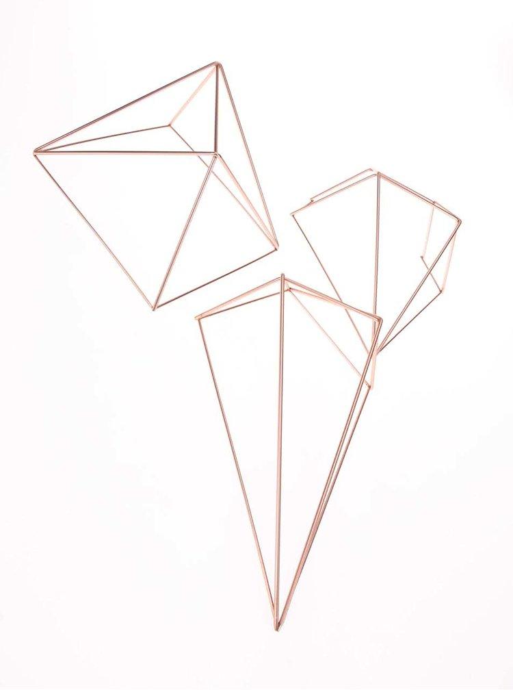 Set šiestich nástenných či závesných dekorácií v medenej farbe Umbra Prisma