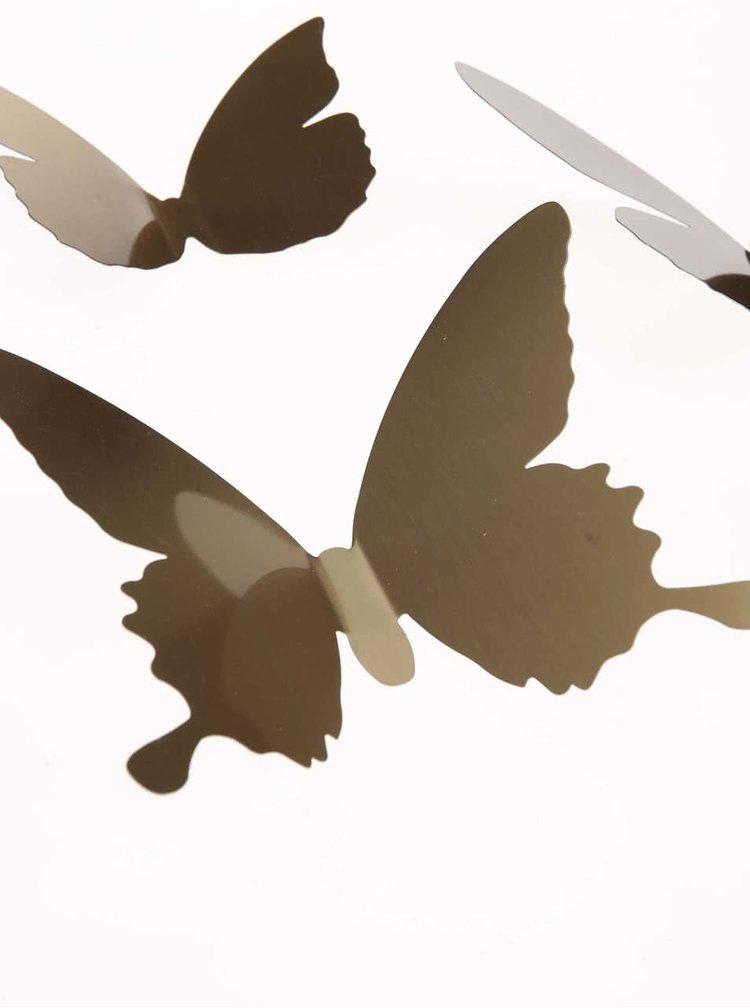 Deväťdielna sada nástenných dekorácií-motýľov v zlatej farbe Umbra Pluff