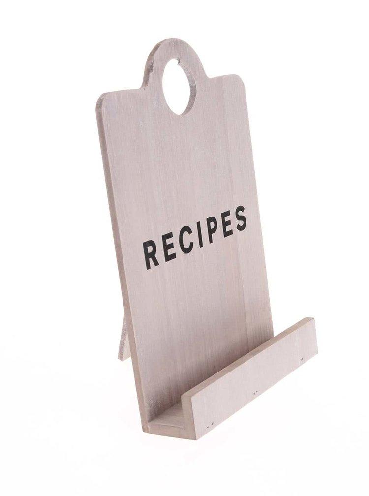 Suport pentru cartea de bucate, din lemn, în formă de tocător pentru pâine, de la CGB