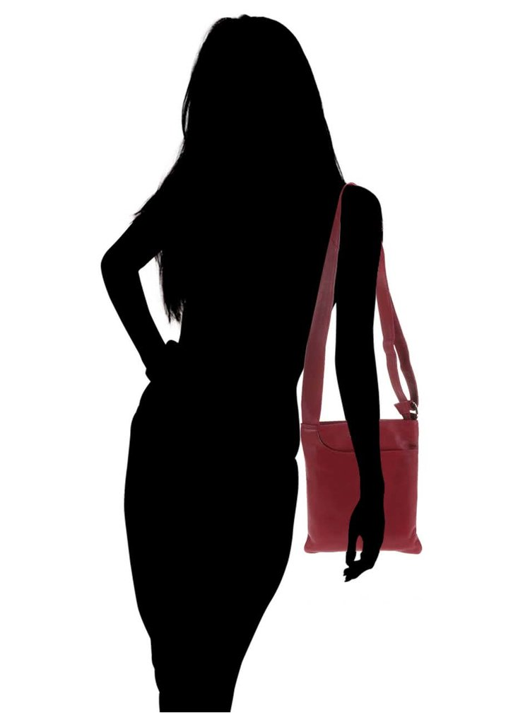 Geantă de umăr, roșie, din piele, Liberty by Gionni Shaula