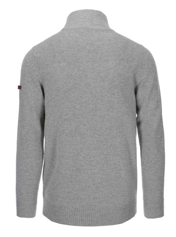 Šedý vlněný svetr s límcem na zip Ben Sherman