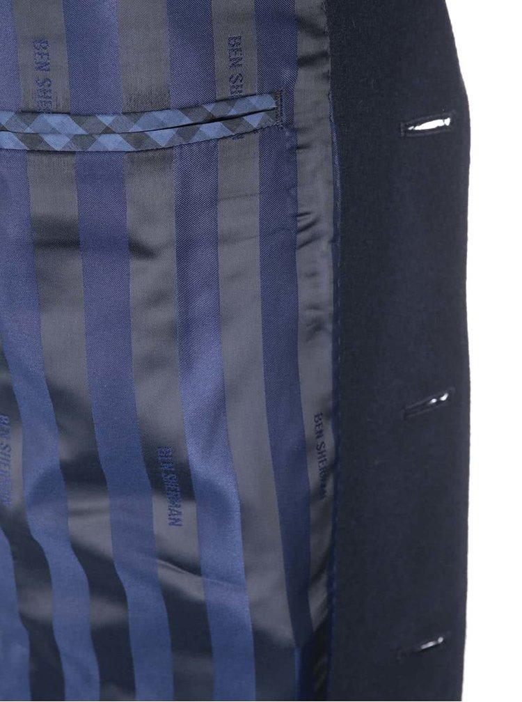 Tmavě modrý delší vlněný kabát Ben Sherman