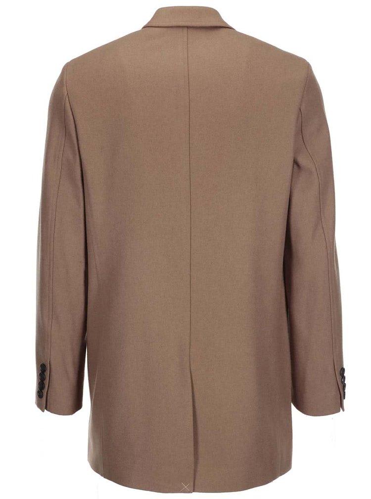 Světle hnědý delší vlněný kabát Ben Sherman