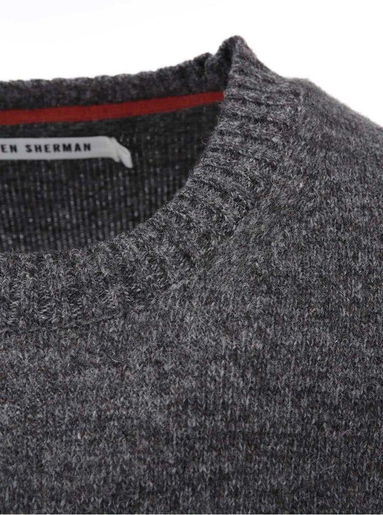 Sivý sveter s oranžovými pruhmi Ben Sherman