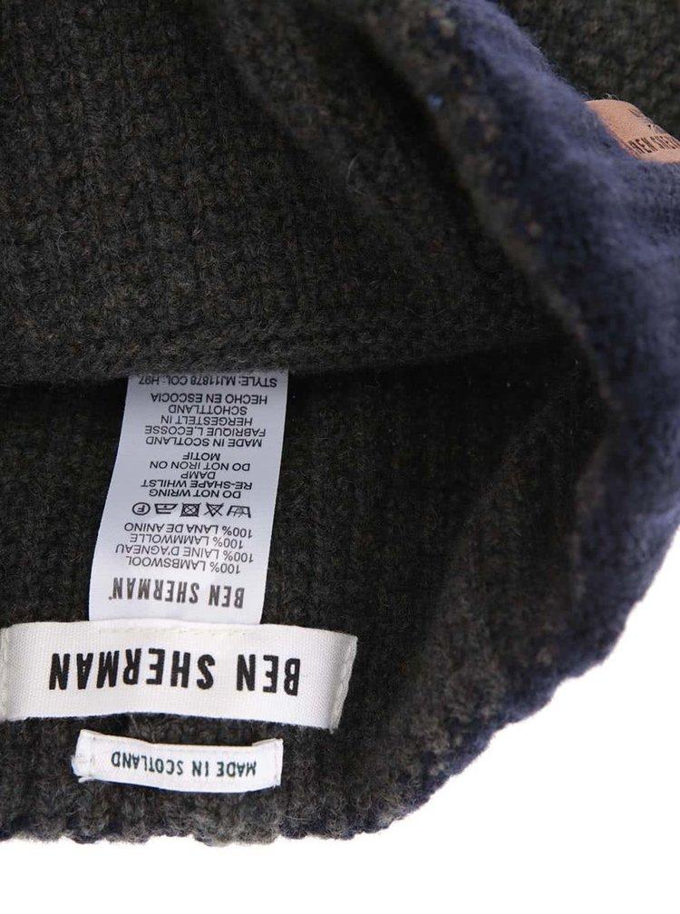 Modro-šedá vlněná čepice se světlým proužkem Ben Sherman