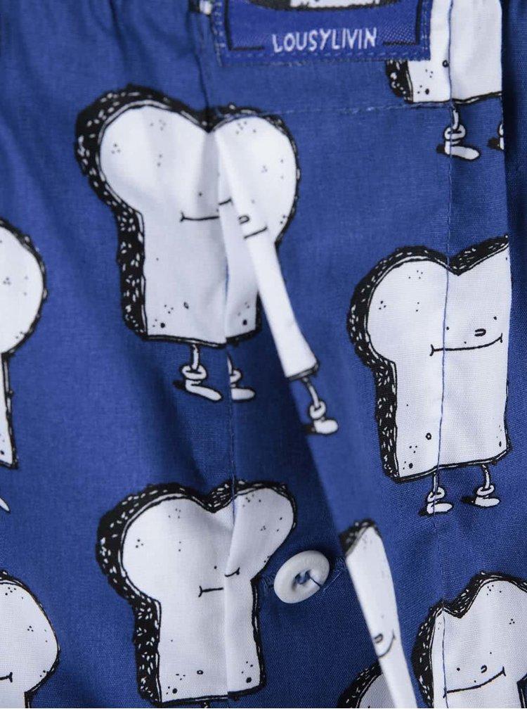 Modré trenýrky s potiskem toustových chlebů Lousy Livin Toast