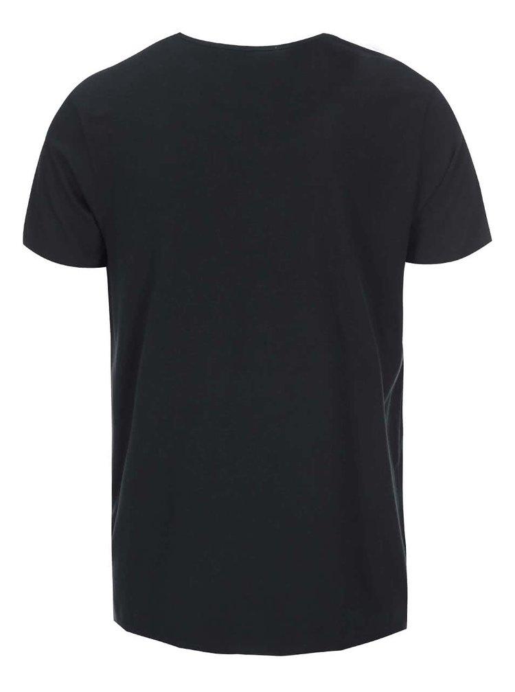 Čierne tričko s potlačou gitary Ben Sherman