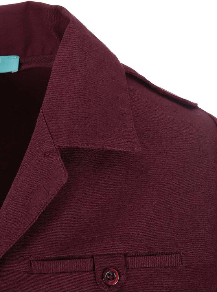 Vínové košeľové šaty Fever London Monty