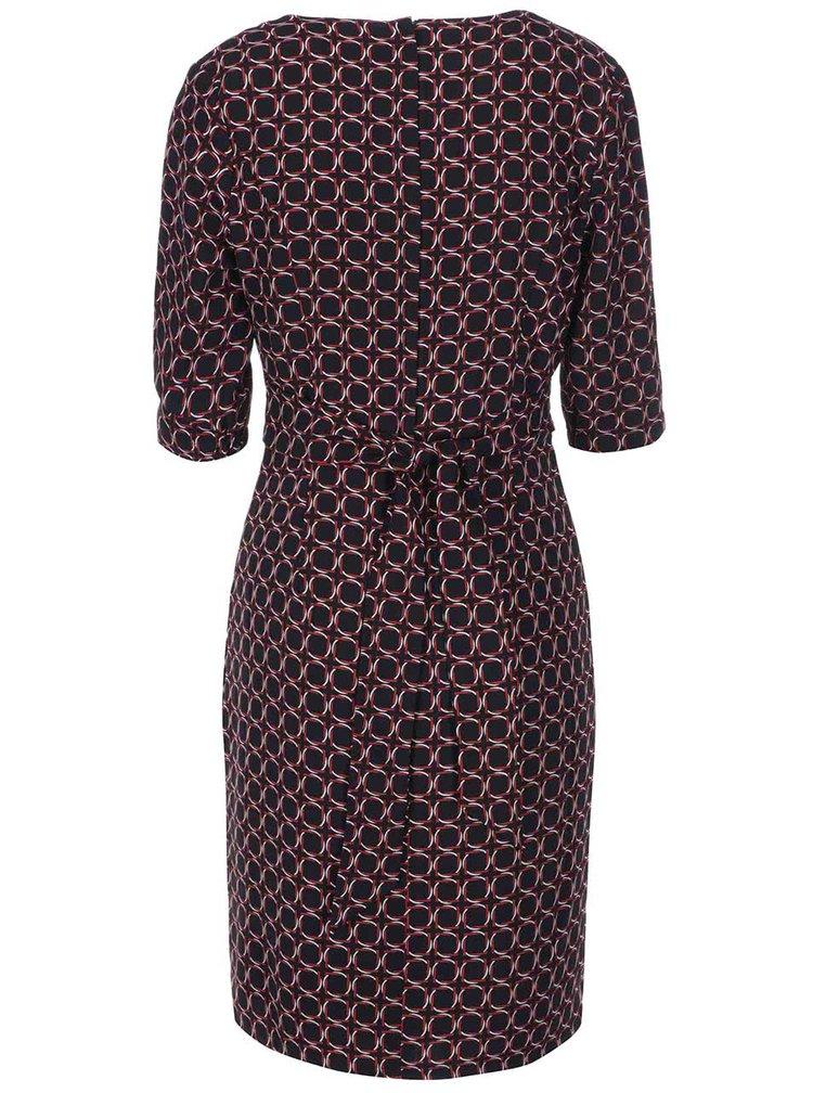 Fever London Marseille, rochie neagra cu model geometric, cu decolteu patrat