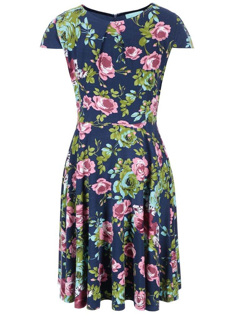 Modré kvetinové šaty Fever London Guinevere Flare
