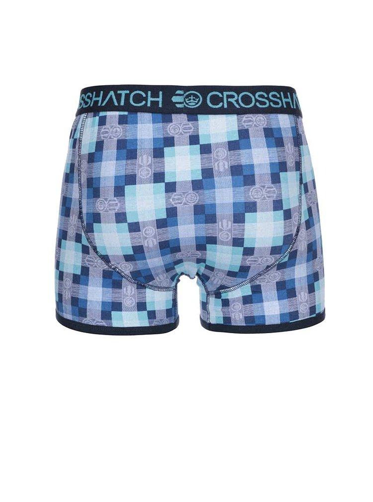 Kolekcia dvoch modrých boxeriek so vzorom Crosshatch Draughts