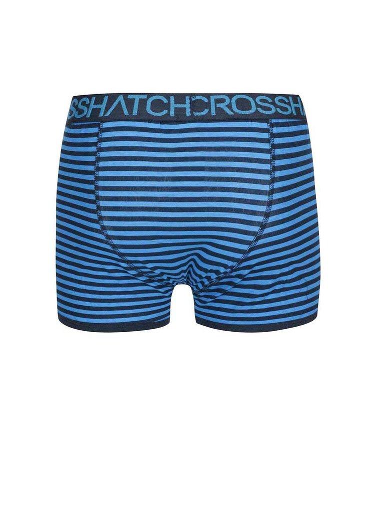Set de doua perechi de boxeri albastri cu dungi Crosshatch Glowsync