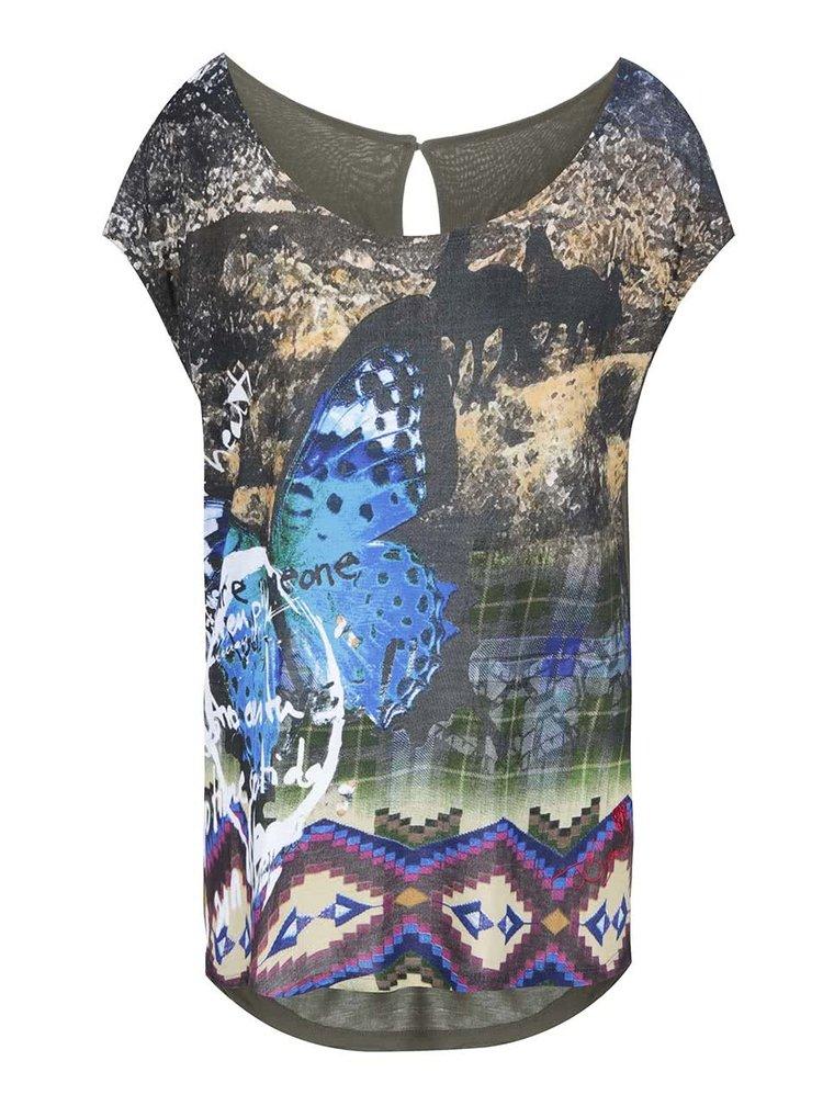 Khaki tričko s barevným potiskem Desigual Ely