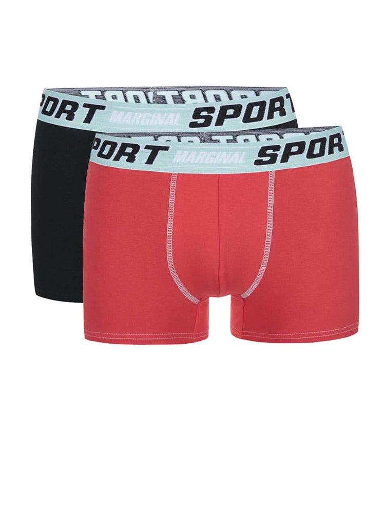 Sada červených a černých boxerek s mentolovým lemováním Marginal