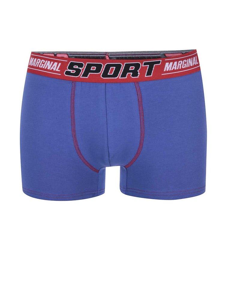 Kolekcia čiernych a fialových boxeriek s červeným lemovaním Marginal