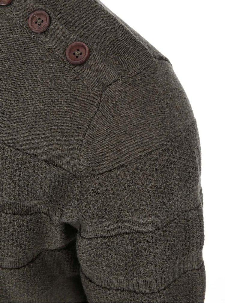 Kaki sveter s guľatým výstrihom Bertoni Laust
