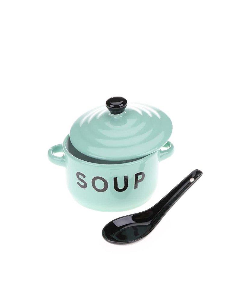 Bol și lingură pentru supă CGB de culoare verde deschis