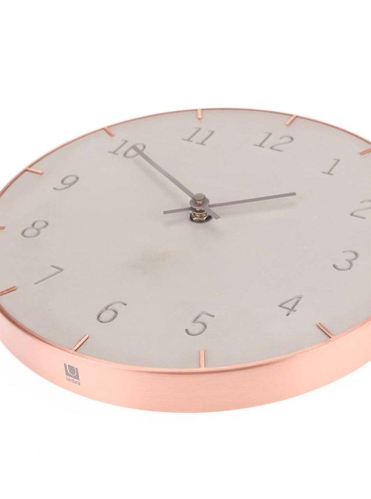Šedo-měděné nástěnné hodiny Umbra Piatto
